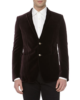 Velvet Trend-Fit Deconstructed Jacket, Bordeaux