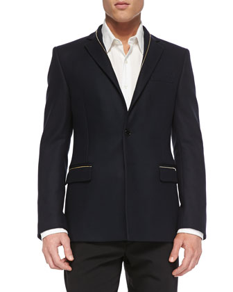 Fashion-Fit 2-Button Jacket, Navy