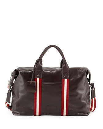 Terret Leather Duffel Bag, Brown/Red