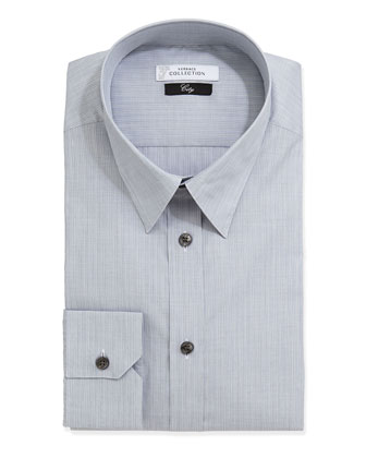 City Fit Long-Sleeve Striped Poplin Dress Shirt, Gray