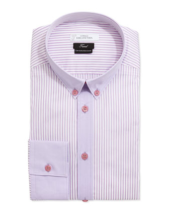 Trend Fit Striped Poplin Long-Sleeve Dress Shirt, Pink