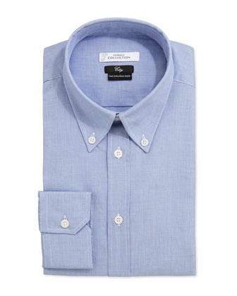 City Fit Long-Sleeve Print Dress Shirt, Blue