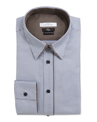 City Fit Long-Sleeve Button-Front Poplin Dress Shirt, Blue