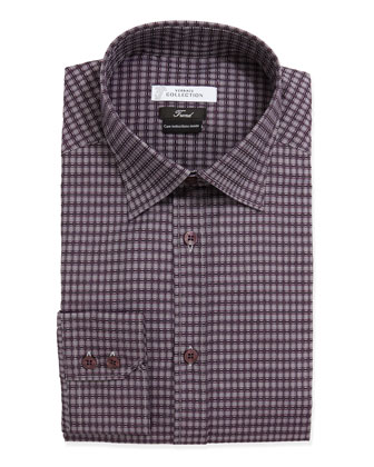 Trend Fit Long-Sleeve Check Dress Shirt, Purple
