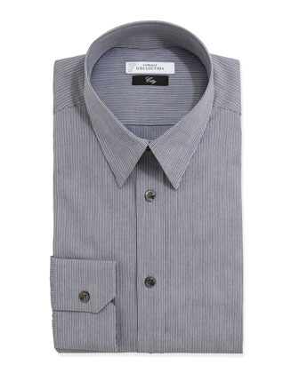 City Fit Long-Sleeve Striped Dress Shirt, Dark Gray