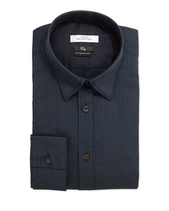 City Fit Striped Dress Shirt, Navy