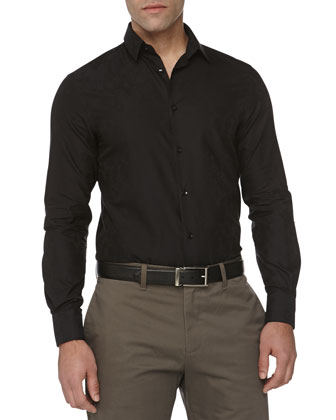 Trend-Fit Jacquard Sport Shirt, Black
