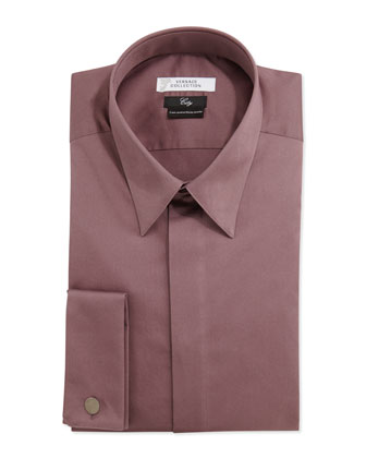 City Fit Long-Sleeve French Cuff Dress Shirt, Purple