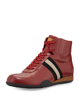 Frendy Leather High-Top Sneaker, Red