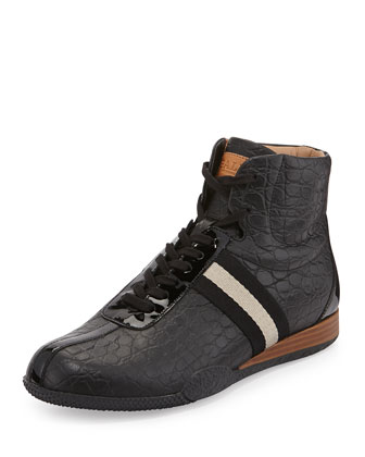 Frendy Croc-Embossed High-Top Sneaker with Wedge