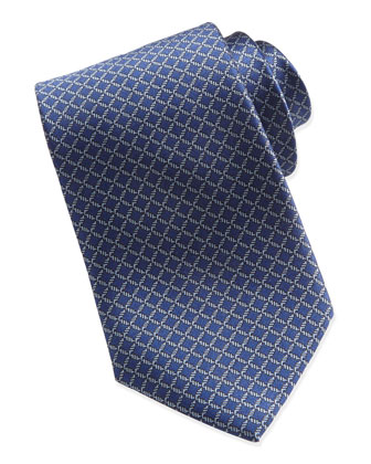 Lattice Neat Silk Tie, Navy