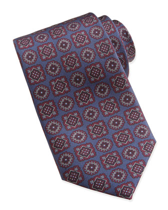 Large-Medallion-Pattern Silk Tie, Blue