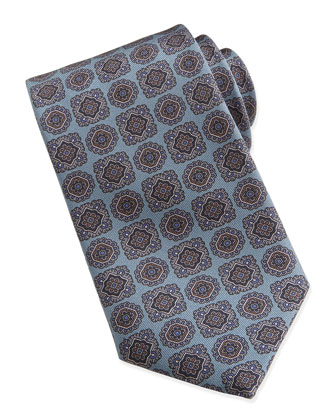 Large-Medallion-Pattern Silk Tie, Mist Blue