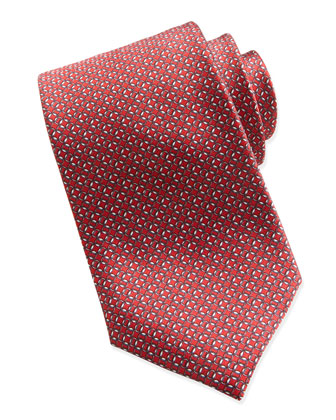 Interlocking Circle Pattern Tie, Red
