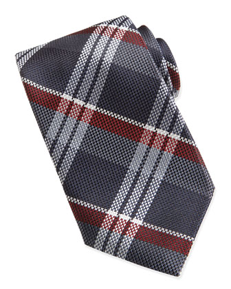 Plaid Pattern Tie, Navy/Burgundy