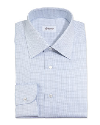 Lattice-Weave Dress Shirt, Blue