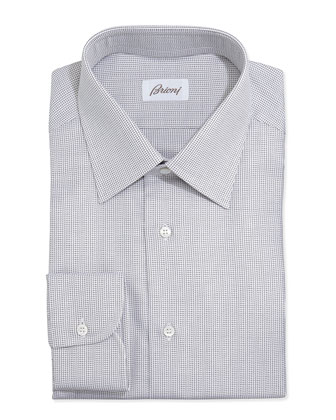 Lattice-Weave Poplin Dress Shirt, Brown