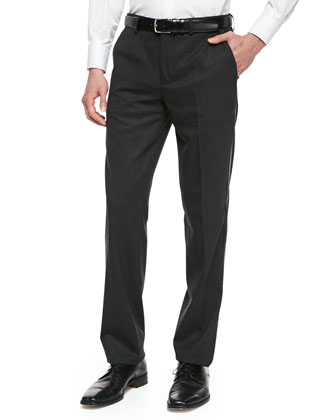 Tuxedo Wool-Blend Trousers, Charcoal