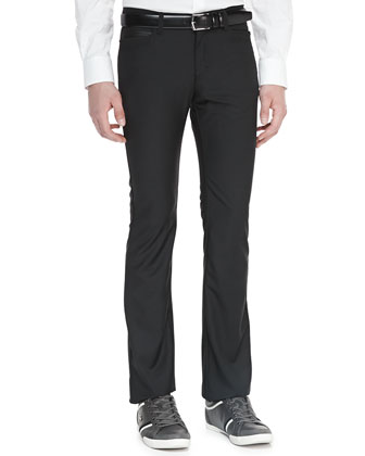 Jersey Pants with Faux-Leather Trim