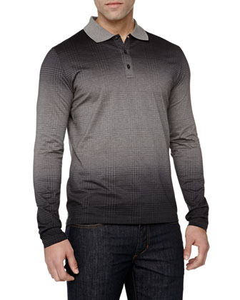 Long-Sleeve Jacquard Polo