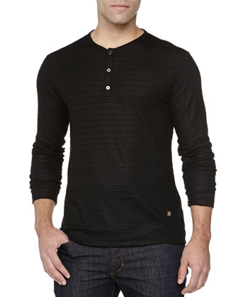 Long-Sleeve Henley, Black