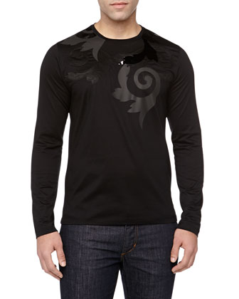 Long-Sleeve Baroque Printed Tee, Black