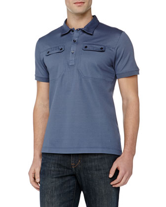 Polo with 2-Pocket Detail, Blue