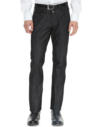 City-Fit Leather-Trim Jeans, Black