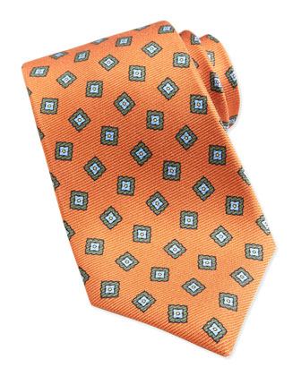 Square Medallion Pattern Tie, Orange