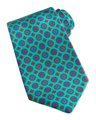 Circle & Square Medallion Pattern Tie, Green