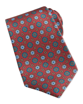 Circle & Square Medallion Pattern Tie, Red