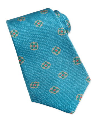 Flower-Medallion Pattern Tie, Teal