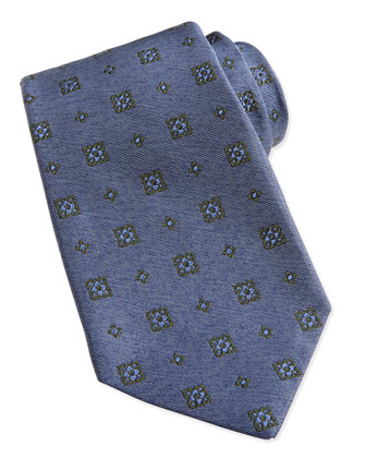 Medallion-Pattern Chambray Tie, Denim Blue
