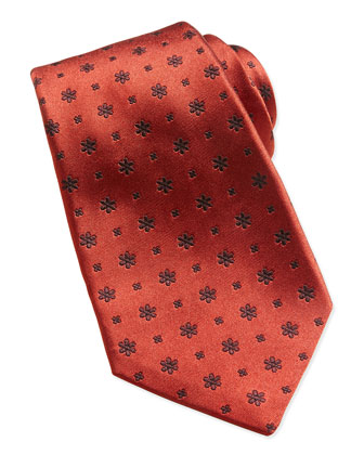Woven Snowflake-Neat Tie, Red