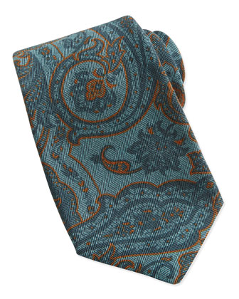 Paisley-Print Woven Tie, Teal/Brown