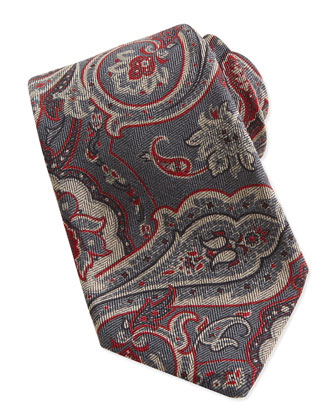 Paisley-Print Woven Tie, Gray/Red