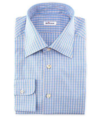 Check Woven Dress Shirt, Blue
