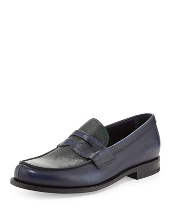 Saffiano Penny Loafer, Blue/Green