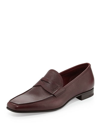 Saffiano Penny Loafer, Burgundy