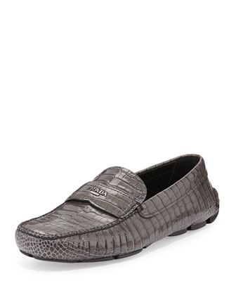 Faux Croc Loafer, Gray