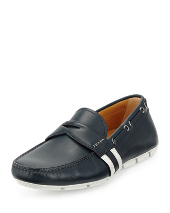 Stripe-Detail Penny Loafer, Navy/White