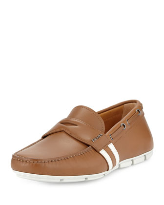 Stripe-Detail Penny Loafer, Camel-White