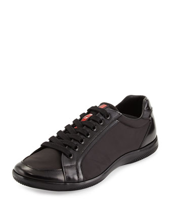 Nylon and Spazzolato Low-Top Sneaker, Navy