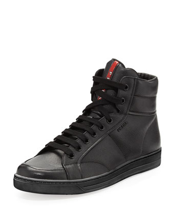 Saffiano High-Top Sneaker, Black