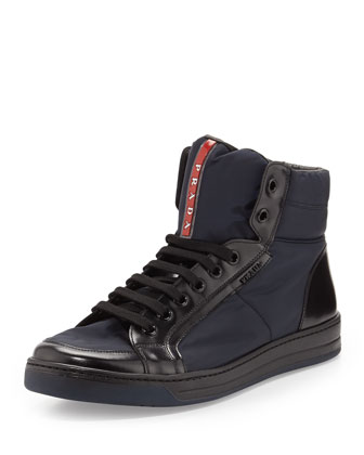 Nylon/Leather High-Top Sneaker, Blue/Black