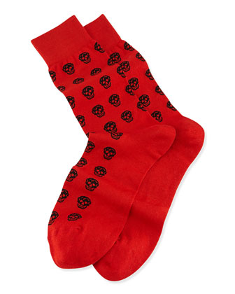 Skull-Print Socks, Flame/Black