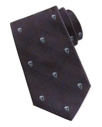 Prince Of Wales Skull-Print Silk Tie, Sky-Blue
