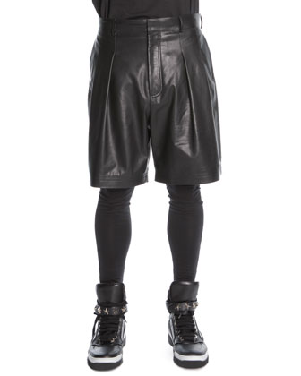 Pleated Leather Shorts, Black