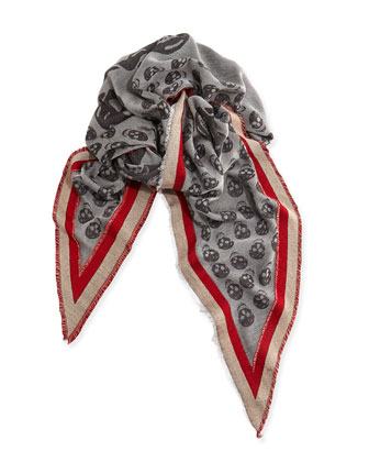 Ribbon-Border Triangular Skull Scarf, Gray/Red