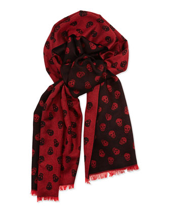 Men's Allover Skull-Print Scarf, Black/Red
